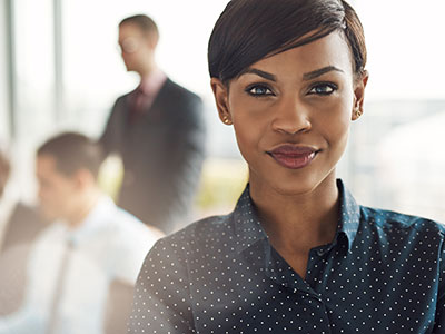 Confident business woman closeup
